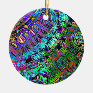 Abstract Spectrum of Shapes Round Ceramic Ornament