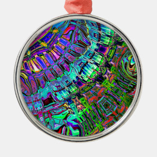 Abstract Spectrum of Shapes Silver-Colored Round Ornament