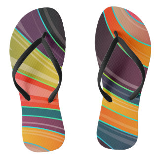 Abstract spiral rainbow colorful design flip flops