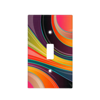 Abstract spiral rainbow colorful design light switch cover