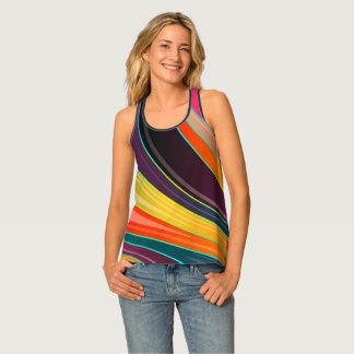 Abstract spiral rainbow colorful design tank top