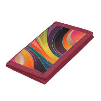 Abstract spiral rainbow colorful design trifold wallet