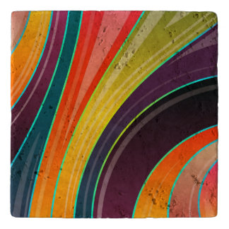 Abstract spiral rainbow colorful design trivet