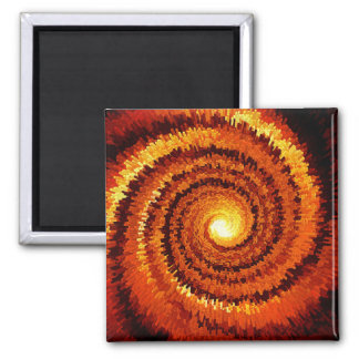 Abstract Spiral Sun 2 Inch Square Magnet