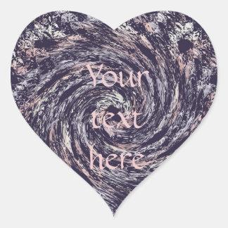 abstract spiral texture.text. heart sticker