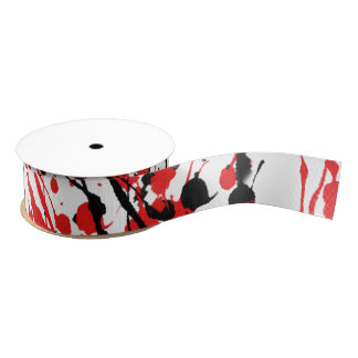 Abstract Splash and Drip Grosgrain Ribbon