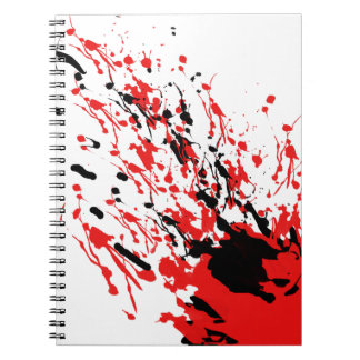 Abstract Splash and Drip Red and Black Spiral Notebook