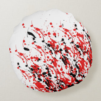 Abstract Splash and Drip Round Pillow