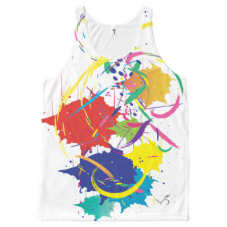 Abstract Splatter Paint Vector Digital Art Cool All-Over-Print Tank Top