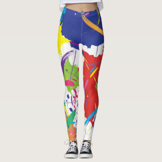 Abstract Splatter Paint Vector Digital Art Cool Leggings