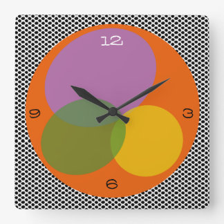 Abstract Spring Colorful Bright Trendy Energizing Square Wall Clock
