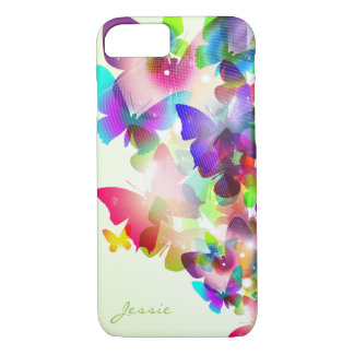 abstract spring colorful butterflies with name iPhone 8/7 case