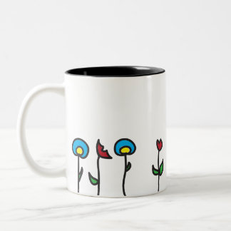 Abstract Spring Flowers Two Tone Mug