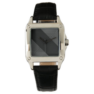 Abstract Square Geometrical Black&White Abstract Watch