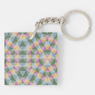 abstract square triangle hexagon pattern Double-Sided square acrylic keychain