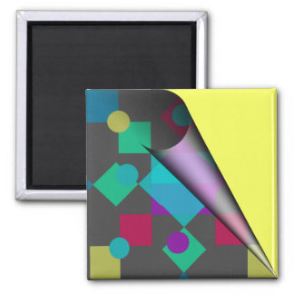 Abstract Squares & Dots Square Magnet