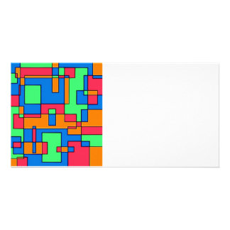 Abstract squares custom photo card