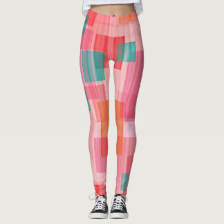 Abstract squares red teal geometric design leggings