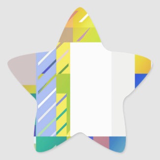 Abstract Squares Star Sticker