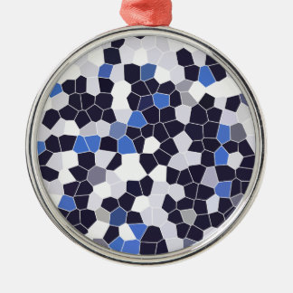 Abstract Stained Glass Dark Blue Grey White Mosaic Silver-Colored Round Ornament