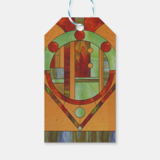 Abstract stained glass design gift tags