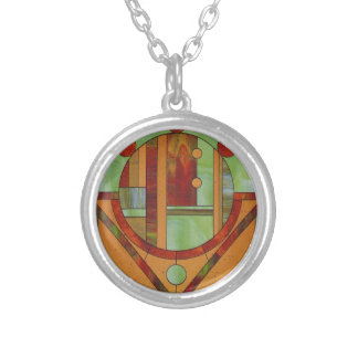 Abstract stained glass design silver plated necklace