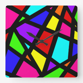 Abstract Stained Glass Geometric Square Wall Clock