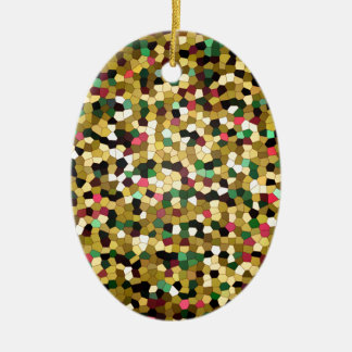 Abstract Stained Glass Gold Pink Green Mosaic Ceramic Oval Ornament