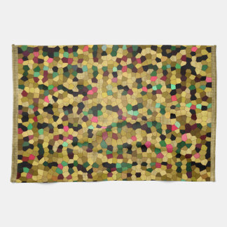 Abstract Stained Glass Gold Pink Green Mosaic Towels