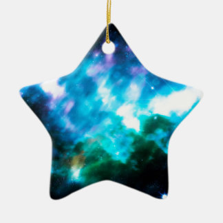 Abstract Starry Background 3 Ceramic Star Ornament
