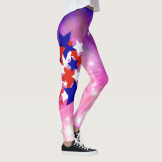 Abstract Stars and Hearts Leggings