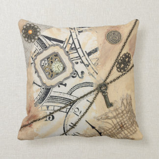 Abstract Steampunk Clock & Key Beige Throw Pillow