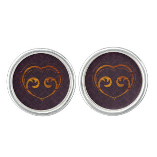 Abstract Steampunk Heart Cuff Links