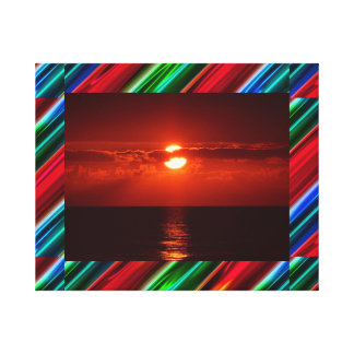 Abstract stripes frame red sunset canvas print