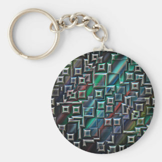 Abstract Stripes Geometry Basic Round Button Keychain