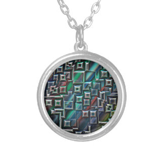 Abstract Stripes Geometry Silver Plated Necklace