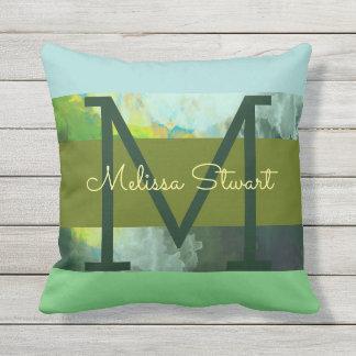 abstract stripes & monogram, greenish outdoor pillow