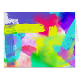 Abstract Stripes Neon Artistic Watercolor Pattern Big Greeting Card