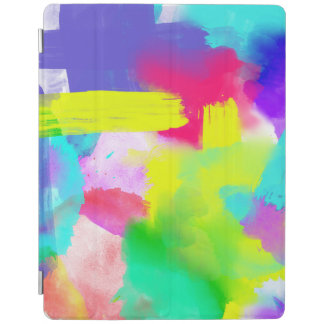 Abstract Stripes Neon Artistic Watercolor Pattern iPad Cover