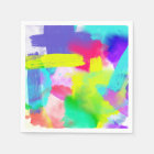 Abstract Stripes Neon Artistic Watercolor Pattern Paper Napkin
