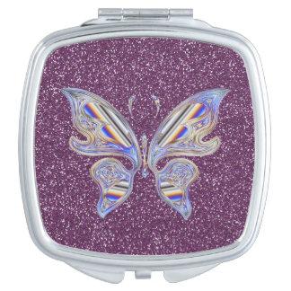 Abstract Stylish Butterfly On Purple Glitter Vanity Mirrors