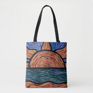 Abstract Summer Sunset Beach Waves Tote Bag