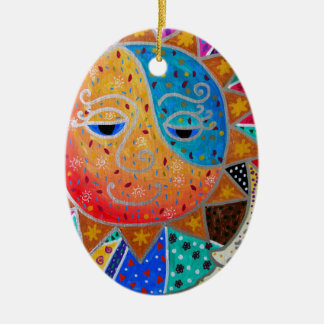 Abstract Sun & Moon by Prisarts Ceramic Oval Ornament