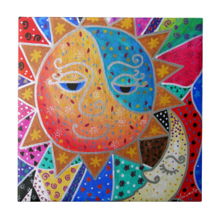 Abstract Sun & Moon by Prisarts Tile