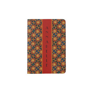 Abstract Sun Pattern With Red Yellow Custom Name Passport Holder