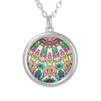 Abstract Sun Rays Mosaic Silver Plated Necklace