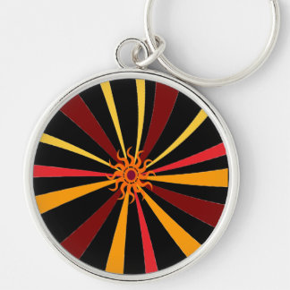 Abstract Sun Silver-Colored Round Keychain