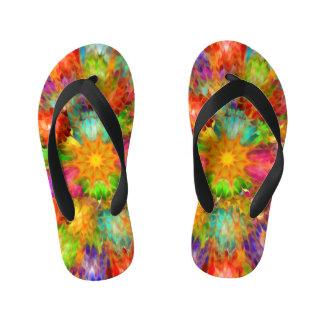 Abstract Sunburst Design Kid's Flip Flops