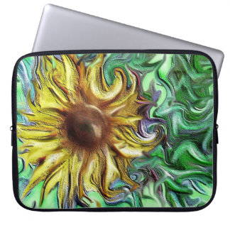 abstract sunflower digital artwork laptop sleeve