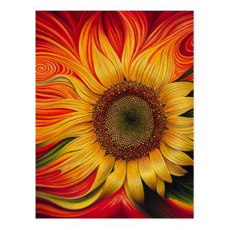 Abstract Sunflower Postcard